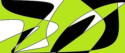 Digital Art - Light Green, White And Black 1 by Linda Velasquez