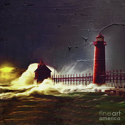 Jersey Shore Painting - Light House 07 by Gull G