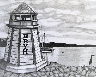 Boats In Harbor Drawing - Light House Bphemia Bay  by Ralph Blankenship