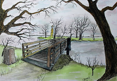 Painting - Light House Bridge Oshkosh by Jack G Brauer