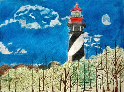 Light House By The Sea Art Print