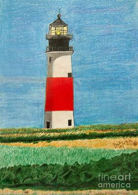 The Maine Drawing - Light House by Dale Ballenger