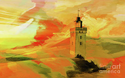 Waterscape Painting - Light House In A Desert 08 by Gull G