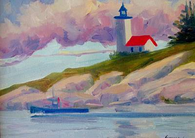 New England Lighthouse Painting - Light House In The Clouds by Linda Emerson