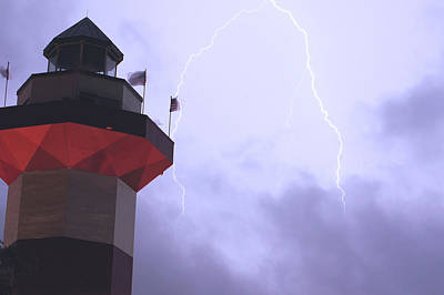 Light House Lightning Art Print by Ethan  Bryant
