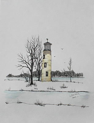 Mixed Media - Light House Oshkosh Wi by Jack G Brauer