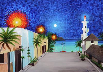 Ocean Painting - Light House Playa Del Carmen Version II by Angel Ortiz