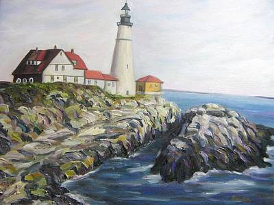 New England Lighthouse Painting - Light House by Richard Nowak