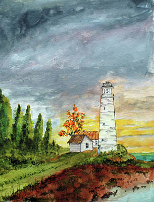 Painting - Light House Sunrise by Jack G Brauer