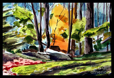 Light In A Wood Black Matted Original by Charlie Spear