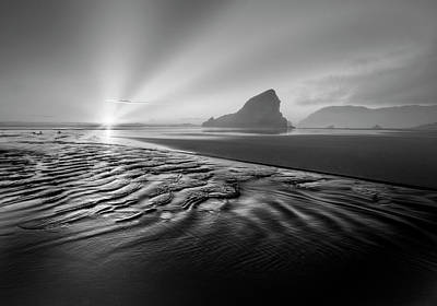 Photograph - Light In The Dark Black And White by Debra and Dave Vanderlaan