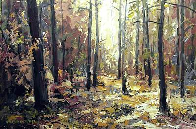 Painting - Light In The Forest by Maxim Grunin