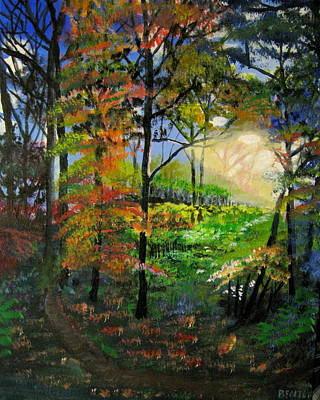 Painting - Light In The Forest by Mike Benton
