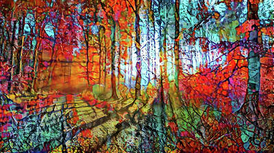 Mixed Media - Light In The Woods by Lilia D