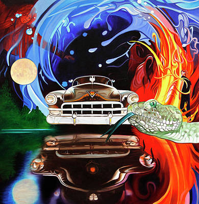 Painting - Light My Fire On A Moonlight Drive To The End by Joshua Morton