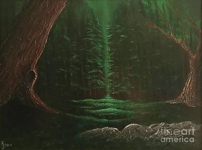 Painting - Light Of The Dark Woods by KJ Burk