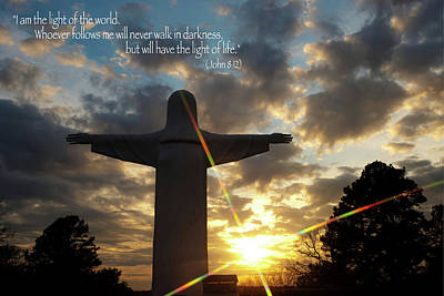 Photograph - Light Of The World - Inspirational Scripture Message Poster by Gregory Ballos