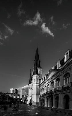 Photograph - Light On Saint Louis Cathedral In Black And White by Chrystal Mimbs