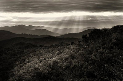 Mountain Photograph - Light On The Mountains In Black And White by Greg Mimbs