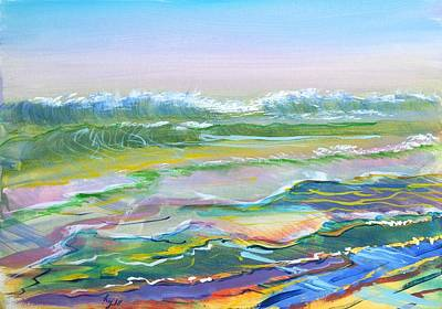 Mixed Media - Light On The Ocean Waves At Fistral Beach by Mike Jory