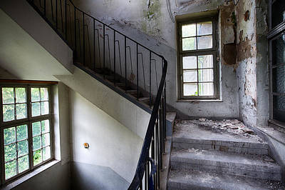 Light On The Stairs - Abandoned Buildings Art Print