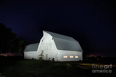 Photograph - Light-painted White Barn by Jean Hutchison