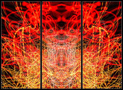 Photograph - Light Painting Abstract Triptych #3 by John Williams