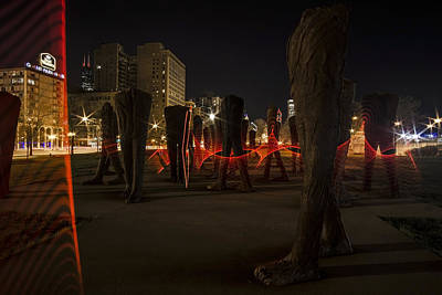Light Painting Around Chicago's Agora Art Print by Sven Brogren