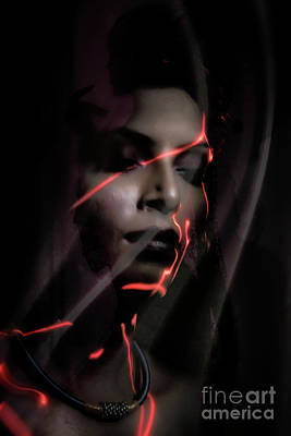 Photograph - Light Painting On Face by Kiran Joshi