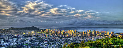 Photograph - Light Painting Waikiki Beach Diamond Head Sunrise Oahu Hawaii Art by Reid Callaway