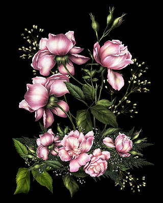 Digital Art - Light Pink Roses On Black by Georgiana Romanovna