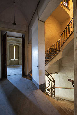 Light Play In The Stairway - Abandoned Building Art Print