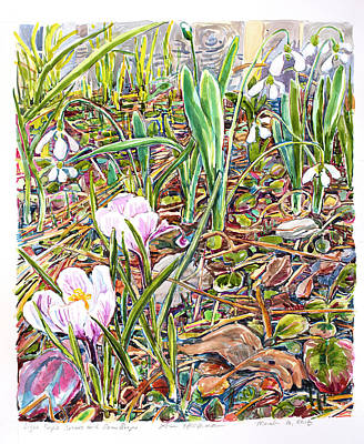 Painting - Light Purple Crocus and Snow Drops by Ann Heideman