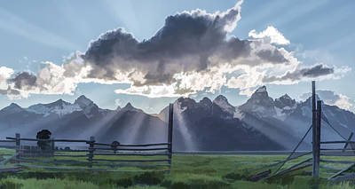 Mountains Digital Art - Light Rays In The Tetons II by Jon Glaser