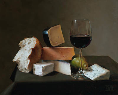 Cheese Green Pears Painting - Light Repast by Ernest Vincent Wood III