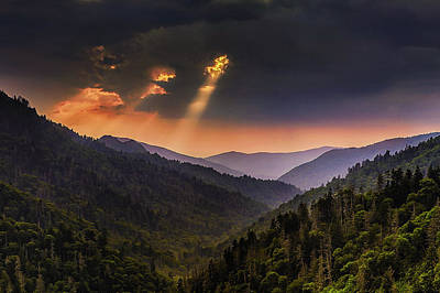 Mountain Royalty-Free and Rights-Managed Images - Light Shafts in the Smokies by Andrew Soundarajan