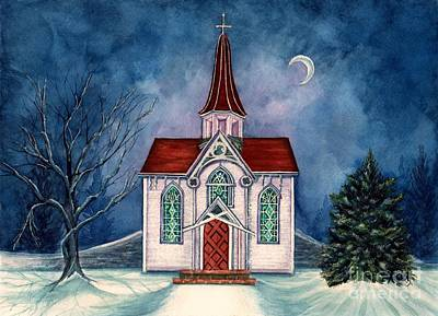 Painting - Light Shines On - Winter Country Church by Janine Riley