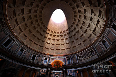 Interior Photograph - Light Shining Through An Oculus In The Ceiling In Pantheon by Michal Bednarek