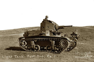 Photograph - M2 Light Tank Single Turret With 37mm Gun. Fort Ord, California Circa 1942 by California Views Archives Mr Pat Hathaway Archives