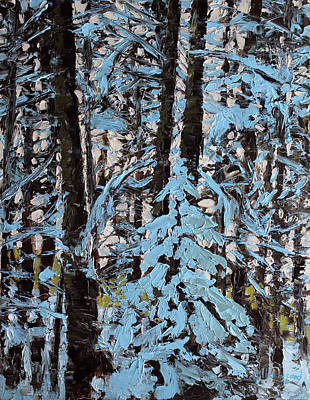 Painting - Light Through Snow Tipped Branches by Gilles Lafond