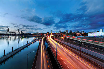 Trail Photograph - Light Trails Along Willamette River by David Gn