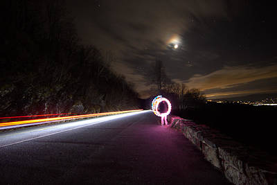 Light Trails And Painting Art Print