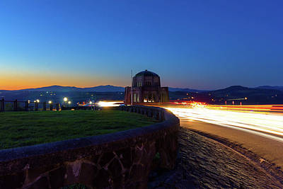 Photograph - Light Trails Around Vista House On Crown Point by David Gn