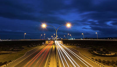 Light Trails From Fast Moving Cars On A Highway Original by Michalakis Ppalis