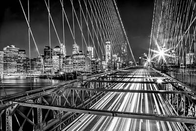 Brooklyn Bridge Photograph - Light Trails Of Manhattan by Az Jackson