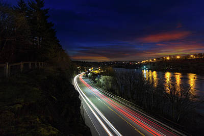 Light Trails On Highway 99 Art Print by David Gn