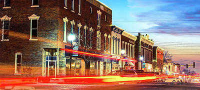 Photograph - Light Trails Through The Rogers Arkansas Panoramic Skyline by Gregory Ballos
