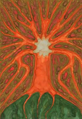 Abstract Tree Painting - Light Tree by Wojtek Kowalski