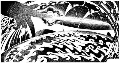 Editoria Drawing - Light Up Hand by Ciro Pignalosa