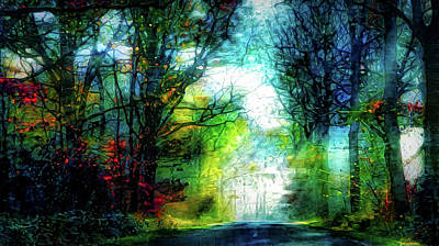 Mixed Media - Lightbeam In The Forest by Lilia D